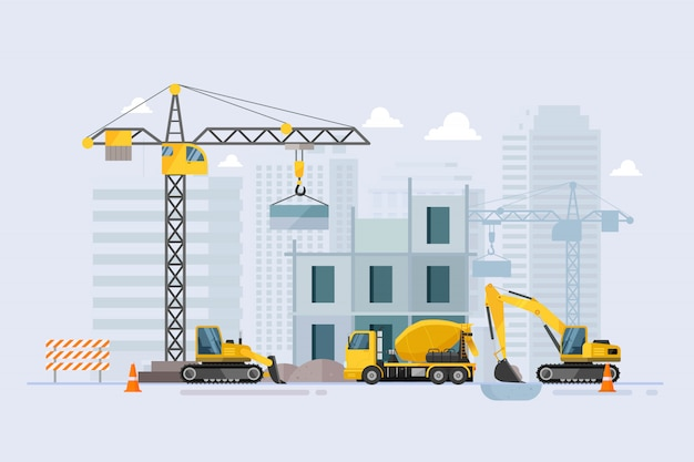 В процессе строительства строительный рабочий процесс