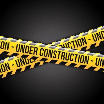 建設中リボンの上に黒の背景ベクトル図