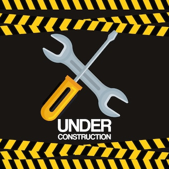 Under construction screwdriver and wrench tools equipment support