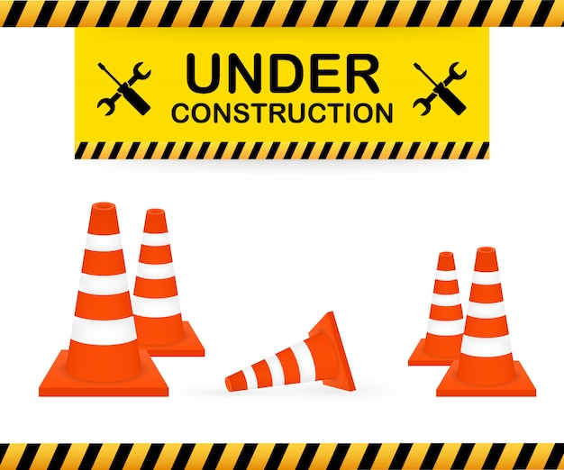 工事標識の下。