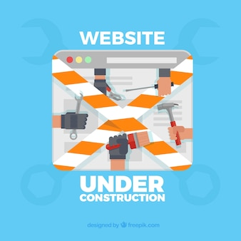 Under construction web template in flat style