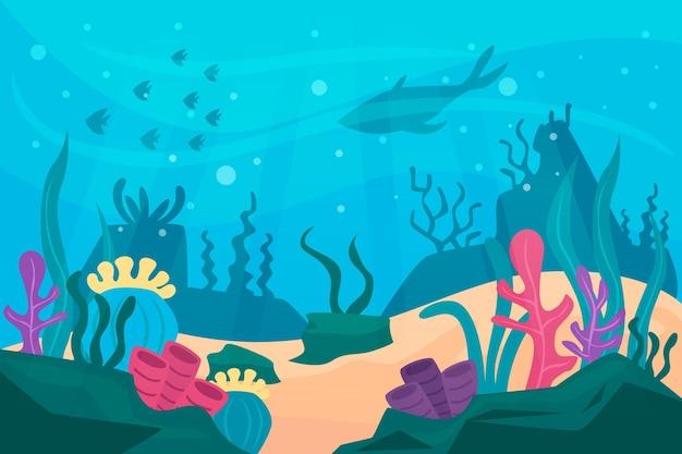 Под водой фон концепции