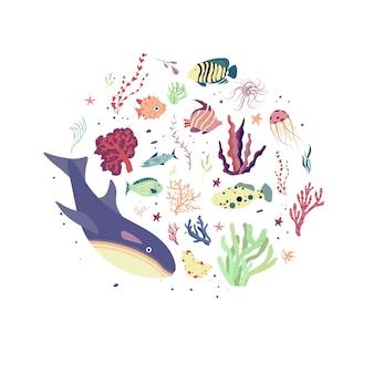 海の世界。エコロジープリント、惑星および環境保護の概念。