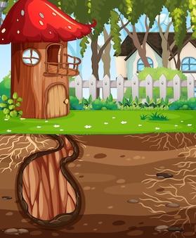 Buca per animali sotterranea con superficie del terreno della scena del giardino