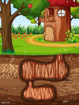 정원 장면의 지상 표면이있는 지하 동물 구멍