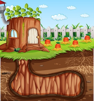 庭のシーンの地面と地下の動物の穴