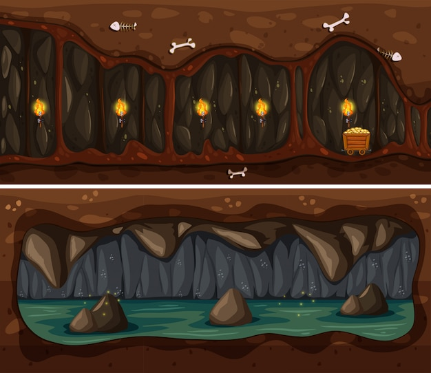 Underground cave and mine template