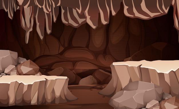 A underground cavern scene