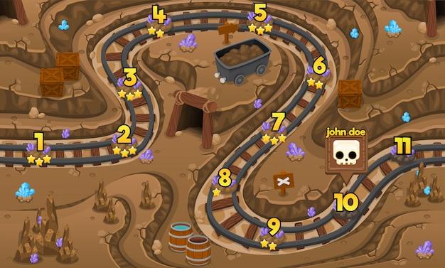 地下鉱山のゲームレベルマップ