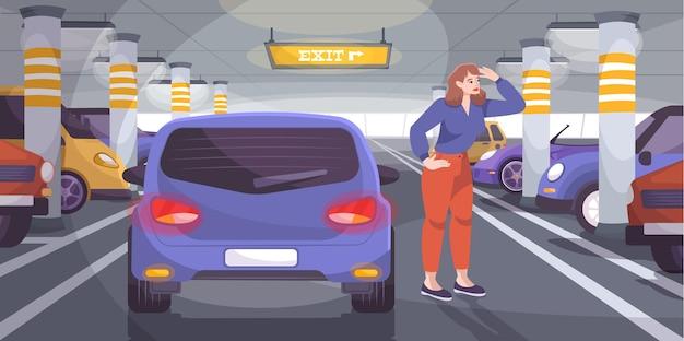 Composizione piatta del parcheggio sotterraneo con carattere scarabocchio del conducente in cerca di uno spazio libero tra le auto parcheggiate