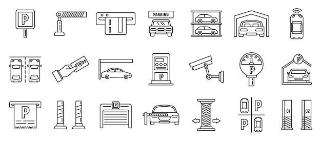 Underground parking garage icons set, outline style