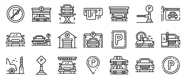 Underground parking icons set, outline style