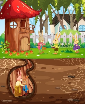 Underground rabbit hole with ground surface of the garden scene