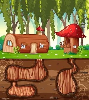 정원 장면의 지상 표면이있는 지하 토끼 구멍