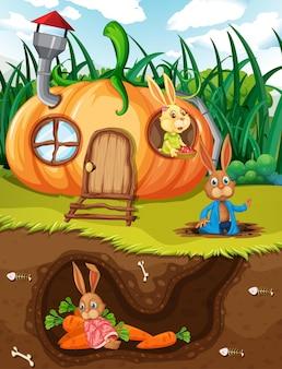정원 장면의 지표면이 있는 지하 토끼굴