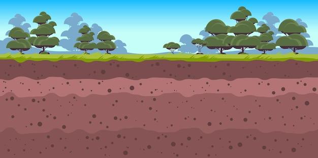 잔디와 나무 고고학 풍경 가로 벡터 일러스트와 함께 지하 토양 층 지상층