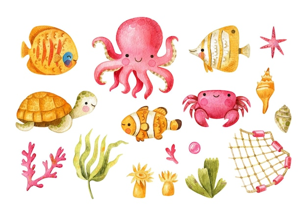 Undersea creatures set with octopus fish crab turtle shells water plants net actinia