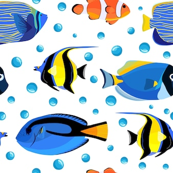 Undersea fish seamless pattern with bubbles. kids underwater background. pattern of fish for textile fabric or book covers, wallpapers, design, graphic art, wrapping