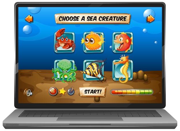 ノートパソコンの画面に海中ゲームを表示