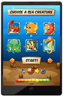 태블릿 화면에 해저 게임 디스플레이