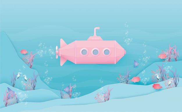 Undersea pink submarine with many fishes in pastel style.