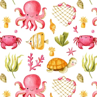 Undersea seamless pattern with cute octopus fish crab and turtles cartoon ocean pattern