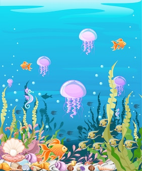 Undersea with fish. marine life landscape - the ocean and the underwater world with different inhabitants. for  websites and mobile phones, printing.