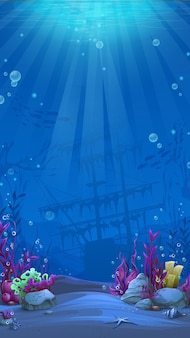 Undersea world in blue theme. marine life landscape - the ocean and the underwater world with different inhabitants.