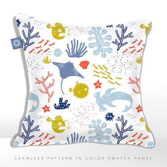 Undersea world child or kid seamless fabric or textile pattern cushion with stingray, puffer fish, lantern fish & hammerhead shark.