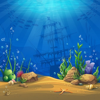 Undersea world. marine life landscape - the ocean and the underwater world with different inhabitants.