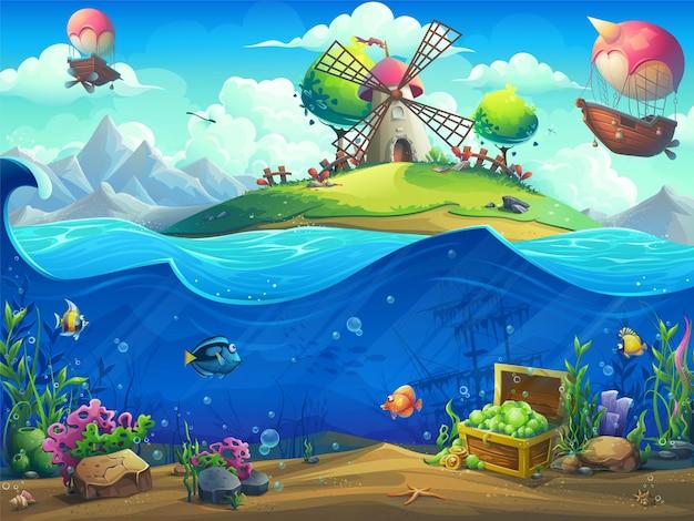 Подводный мир с дирижаблем на острове иллюстрации