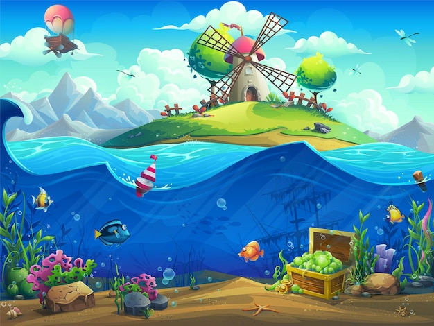 Undersea world with baloon on island illustration