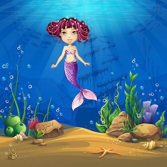 갈색 머리 인어와 함께 해저 세계. 해양 생물 풍경-다른 주민과 함께 바다와 수중 세계.