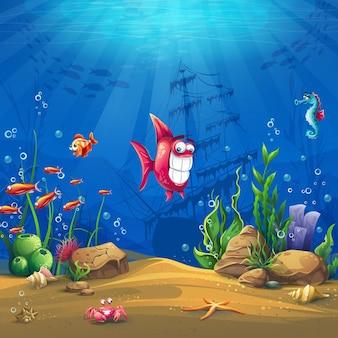 물고기와 함께 해저 세계. 해양 생물 풍경-다른 주민과 함께 바다와 수중 세계.