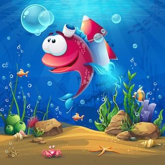 Подводный мир с забавными рыбками. пейзаж морской жизни - океан и подводный мир с разными обитателями.