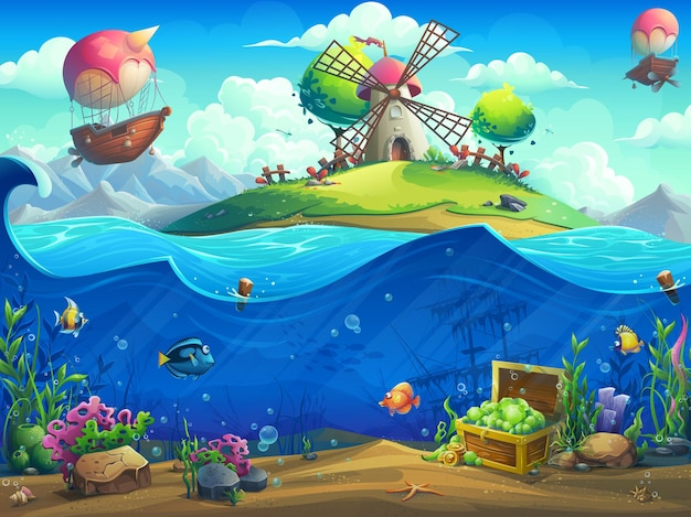 Undersea world with grinder on the island illustration