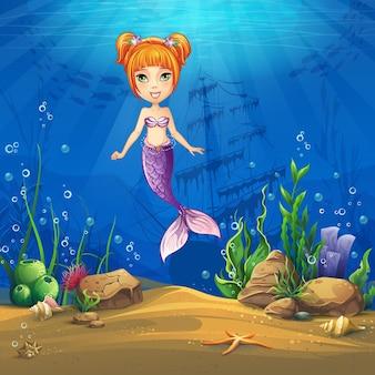 髪の人魚と海底世界。海洋生物の風景-さまざまな住民がいる海と水中の世界。