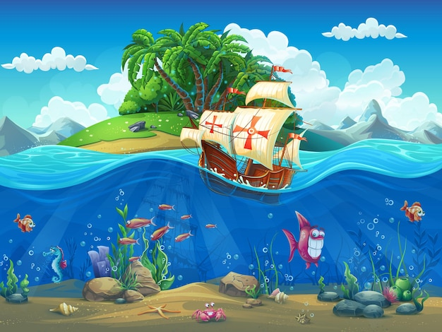 섬과 범선이있는 해저 세계. 해양 생물 풍경-다른 주민과 함께 바다와 수중 세계.