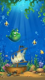 Подводный мир с кораблем. пейзаж морской жизни - океан и подводный мир с разными обитателями.