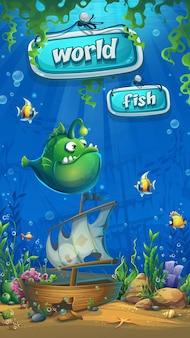 Подводный мир с корабельным мобильным форматом. пейзаж морской жизни - океан и подводный мир с разными обитателями.