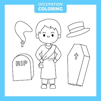 Undertaker job occupation coloring page