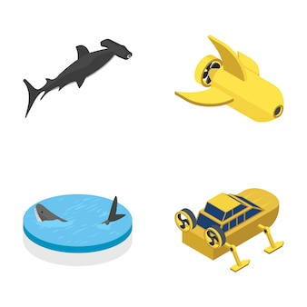 Underwater accessories vehicle icons pack