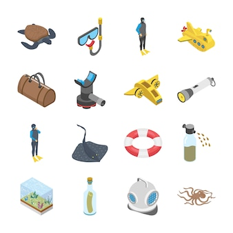 Underwater accessories vehicle icons