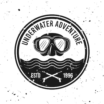 Underwater adventure and diving vector round monochrome emblem, label, badge or logo on background with removable grunge textures
