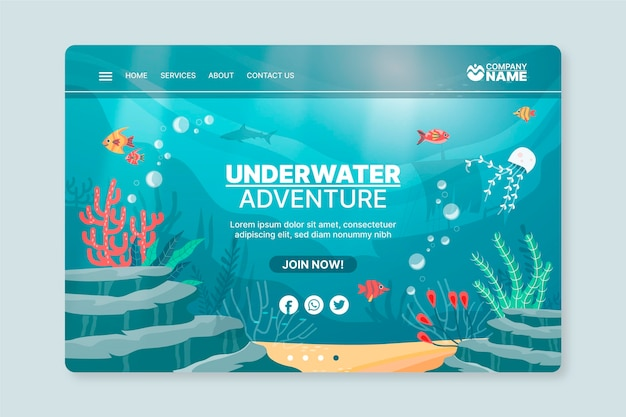 Underwater adventure poster template