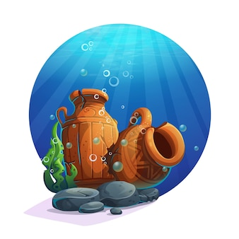 Underwater ancient amphorae with stones, seaweed, bubbles. vector illustration