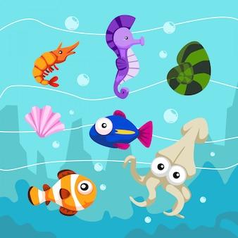 Underwater animal set fish seahorse clam octopus cartoon