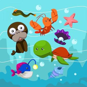 Подводный набор животных рыба черепаха лобстер угорь морская звезда ракушка мультфильм