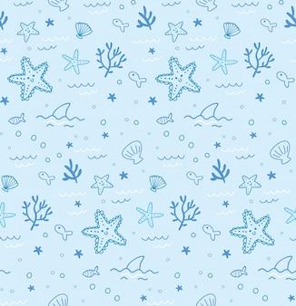 Underwater animals seamless pattern