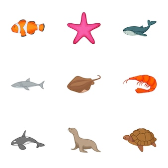 Underwater animals set, cartoon style